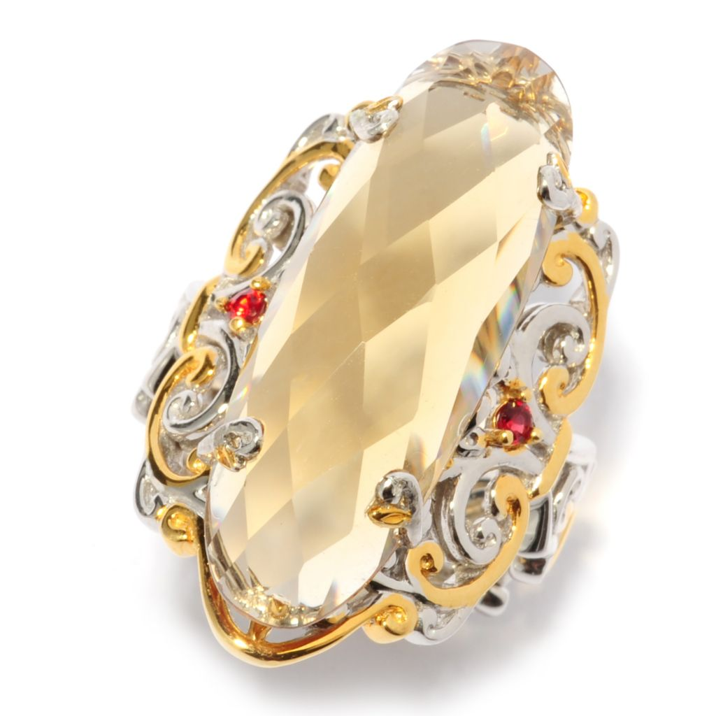 137-315 - Gems en Vogue II 12.60ctw Elongated Zambian Citrine & Orange Sapphire Scrollwork Ring