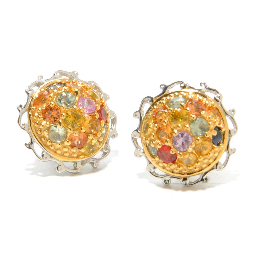 137-316 - Gems en Vogue 2.24ctw Round Multi Sapphire Button Earrings