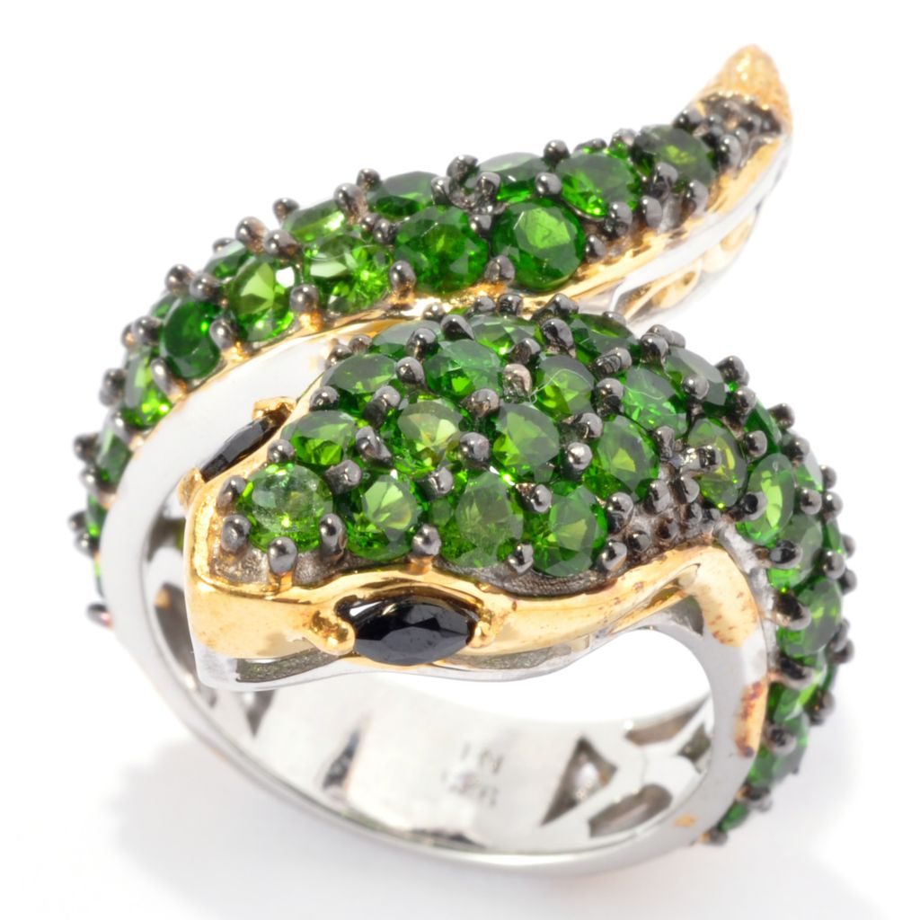 137-317 - Gems en Vogue 4.16ctw Chrome Diopside & Black Spinel Snake Ring