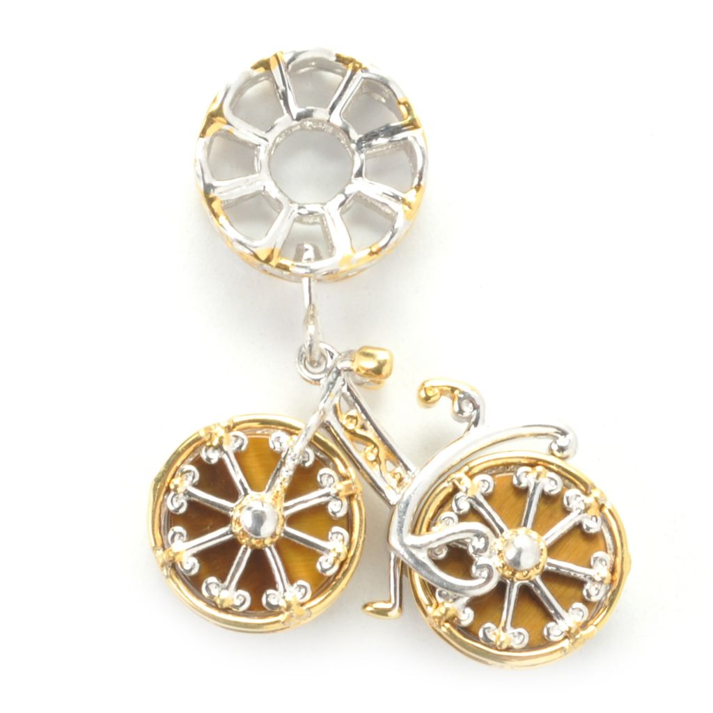 137-320 - Gems en Vogue II Tiger's Eye Spinning Wheel Bicycle Drop Charm
