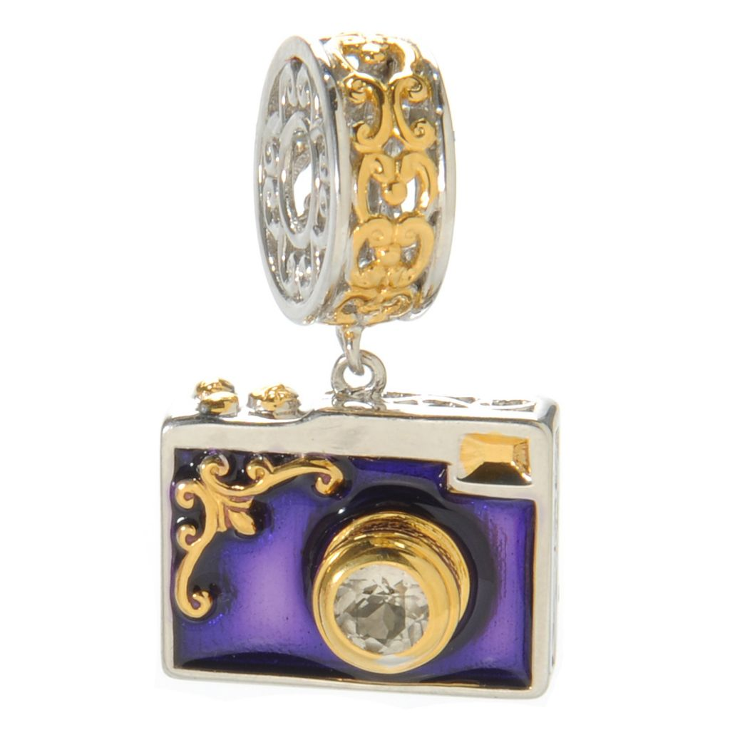 137-323 - Gems en Vogue II White Topaz & Enamel Camera Drop Charm
