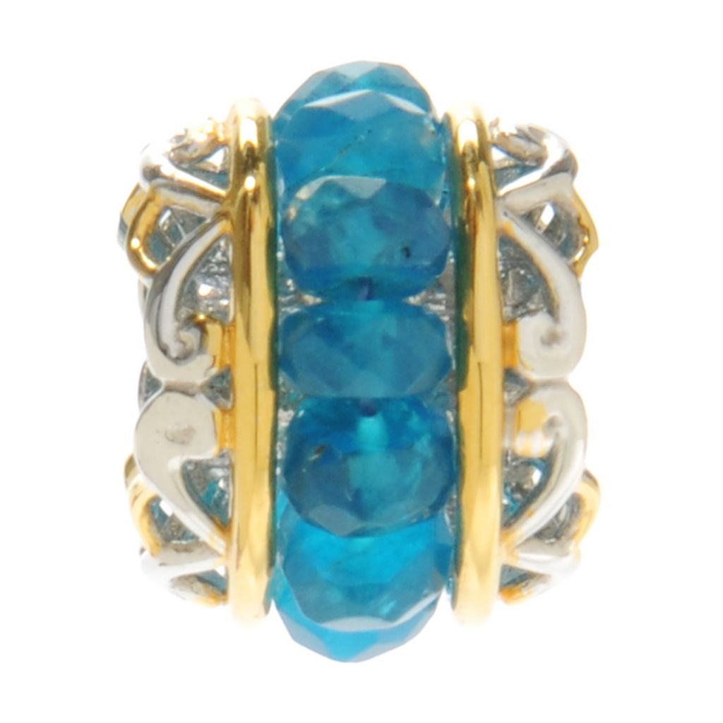 137-325 - Gems en Vogue 4.80ctw Neon Apatite Bead Slide-on Charm