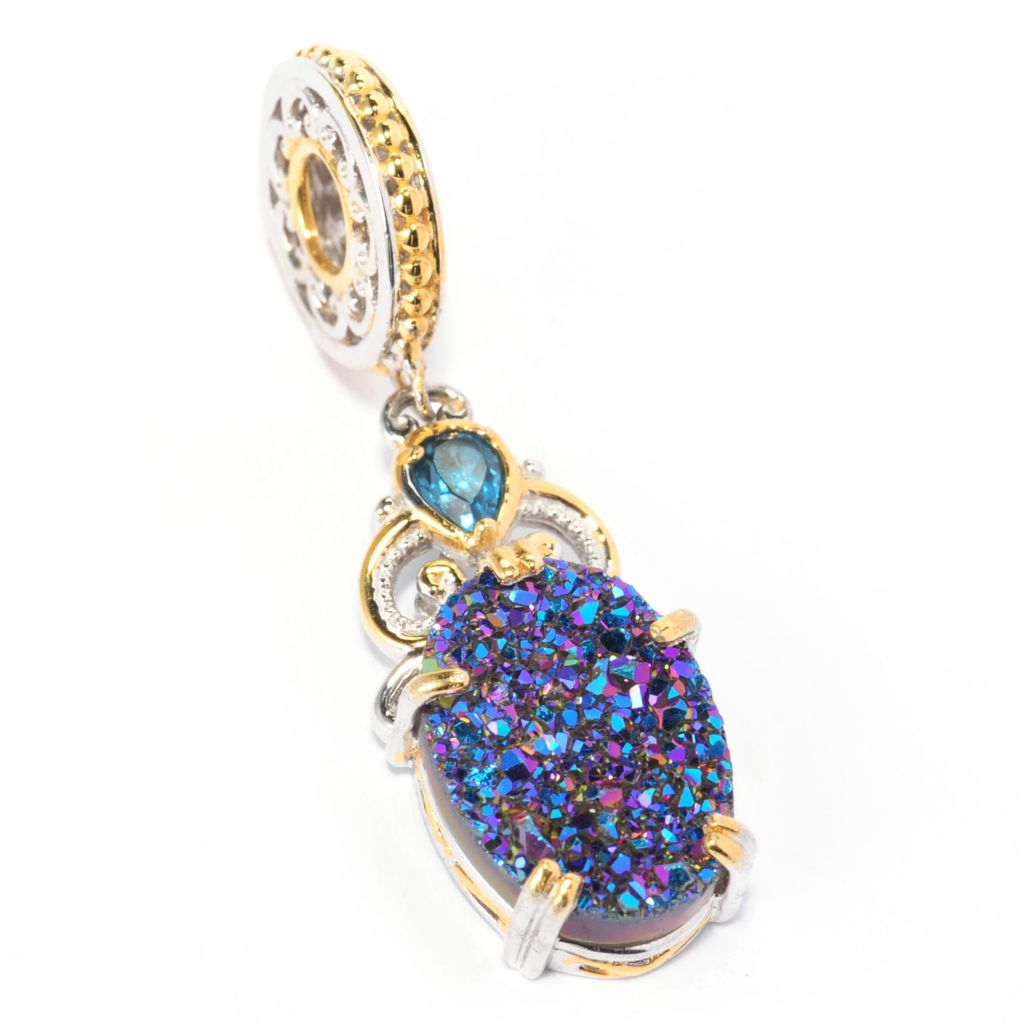 137-333 - Gems en Vogue II 14 x 10mm Oval Drusy & London Blue Topaz Drop Charm