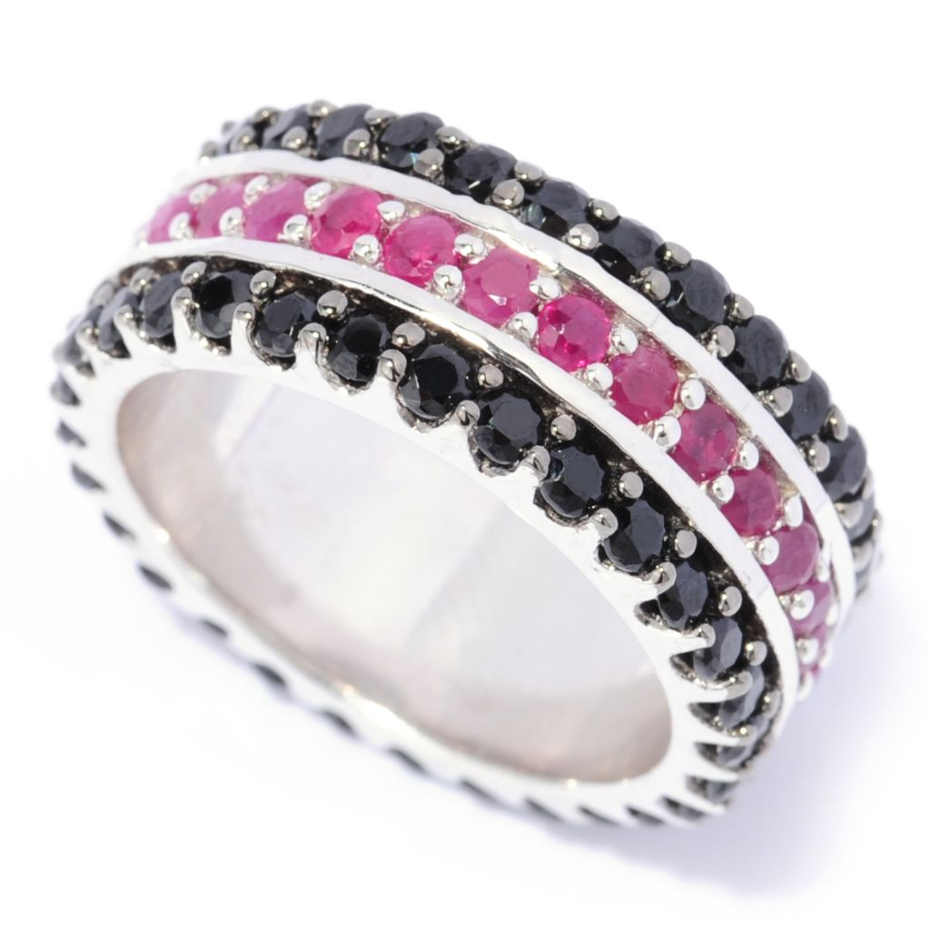 137-338 - Gem Treasures Sterling Silver 3.80ctw Spinel & Ruby Three-Row Eternity Band Ring