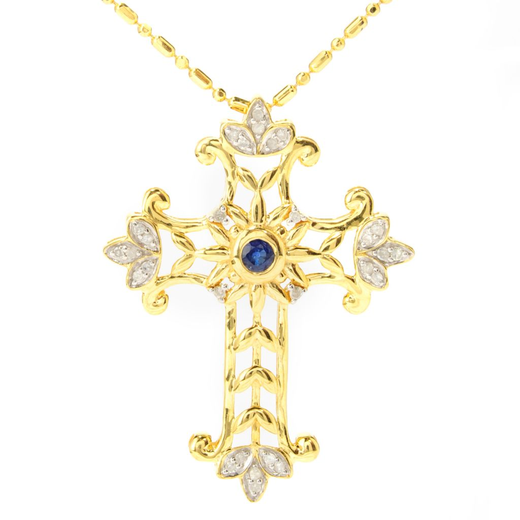 "137-343 - Beverly Hills Elegance Sapphire & Diamond Cross Pendant w/ 18"" Chain"