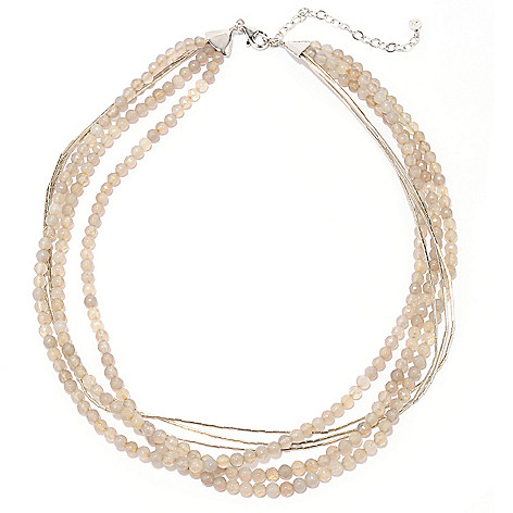 137-344 - Gem Treasures Sterling Silver 18'' Grey Quartz Multi Strand Bead Necklace