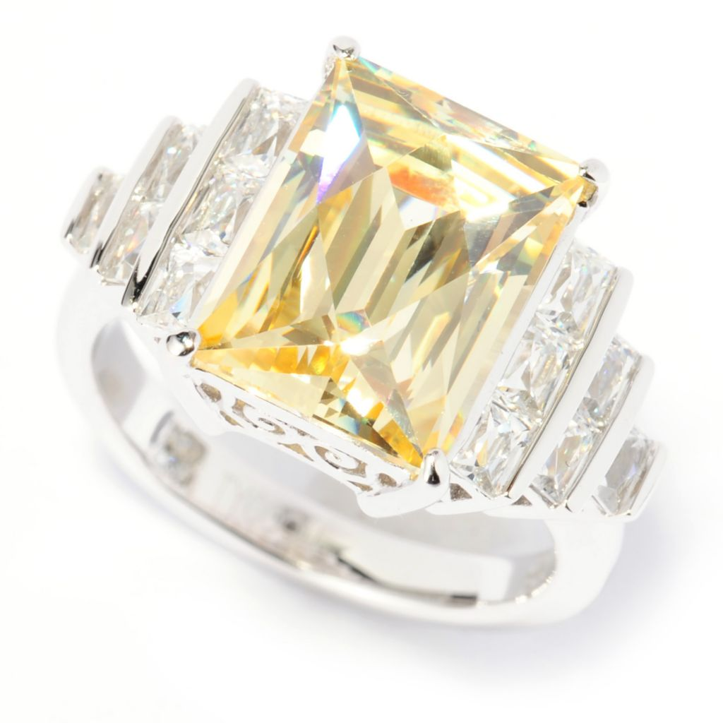 137-346 - TYCOON Platinum Embraced™ 7.04 DEW Canary & White Simulated Diamond Ring