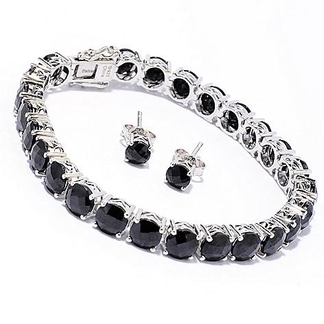 137-347 - Gem Treasures Sterling Silver Black Spinel Tennis Bracelet & Stud Earrings Set