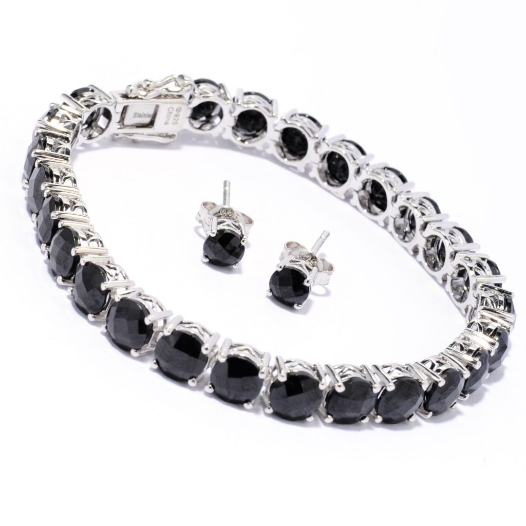 137-347 - Gem Treasures Sterling Silver Black Spinel Tennis Bracelet & Stud Earrings Set