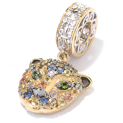 137-351 - Gems en Vogue Multi Sapphire & Chrome Diopside Panther Drop Charm