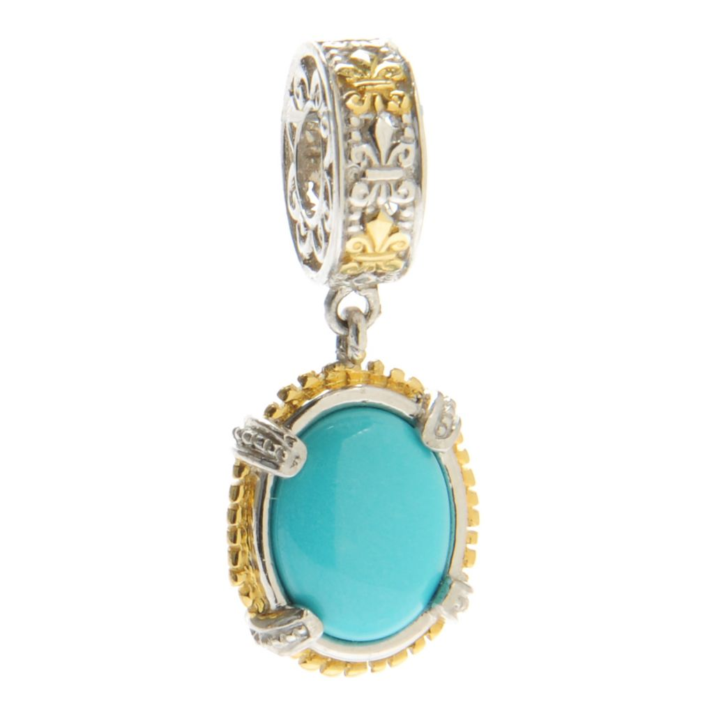 137-353 - Gems en Vogue II 10 x 8mm Oval Sleeping Beauty Turquoise Drop Charm