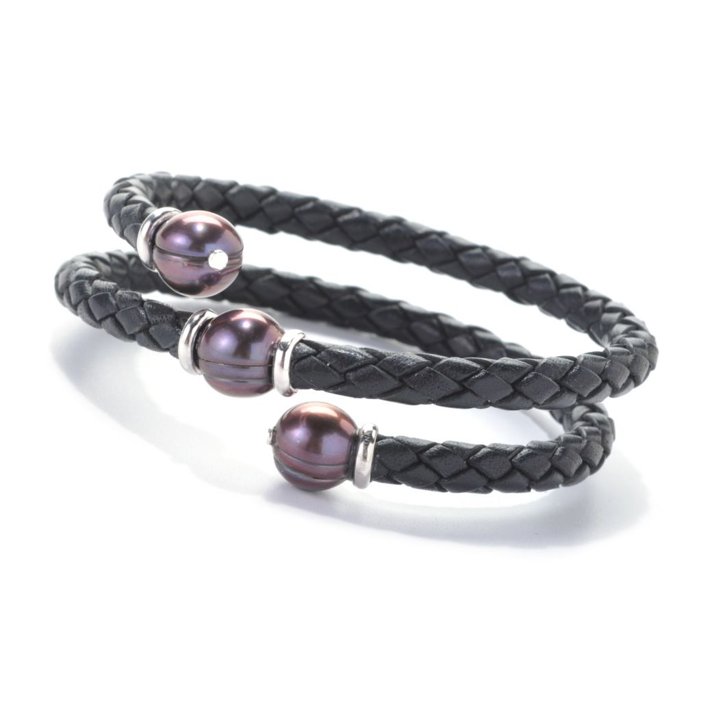 "137-362 - Sterling Silver 7"" 10-11mm Freshwater Cultured Pearl Braided Leather Wrap Bracelet"