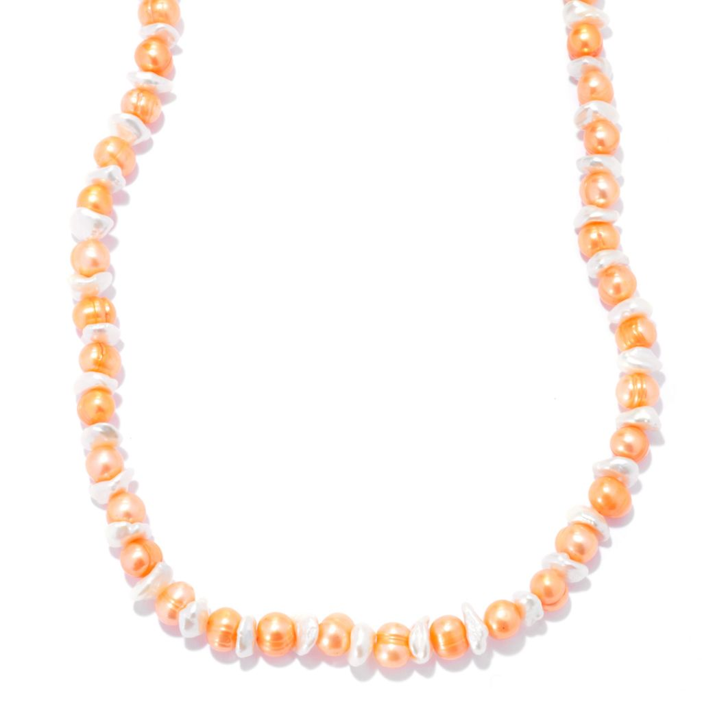 "137-363 - 36"" 6-8mm Papaya Freshwater & White Keshi Cultured Pearl Necklace"