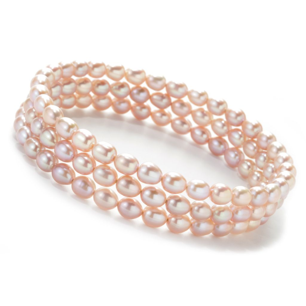 "137-365 - Set of Three 8"" 5-5.5mm Rice Shaped Freshwater Cultured Pearl Bangle Bracelets"