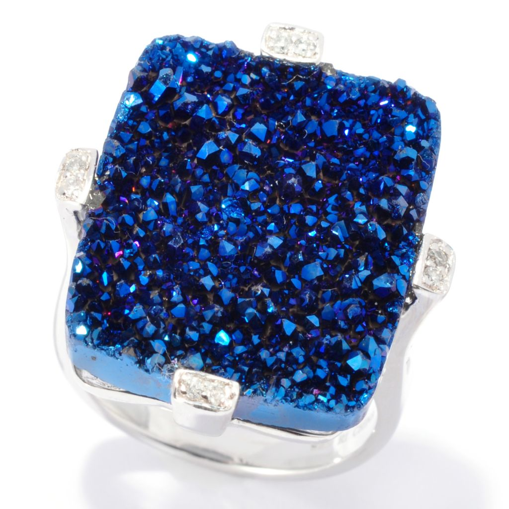 137-368 - Gem Insider Sterling Silver 21 x 17mm Blue Drusy & Diamond Rectangle Ring
