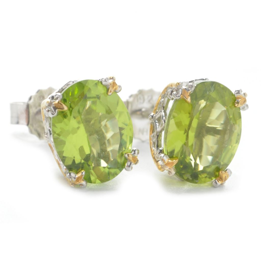 137-373 - Gems en Vogue 5.34ctw Oval Peridot Stud Earrings