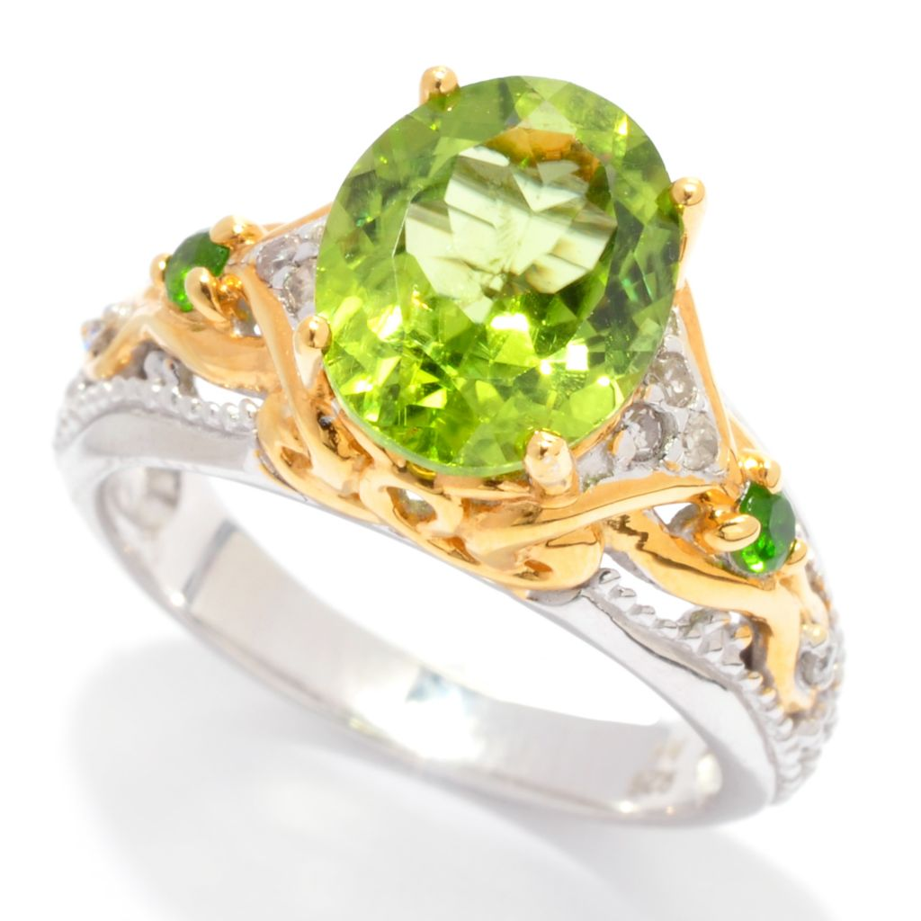 137-374 - Gems en Vogue 2.70ctw Oval Peridot, Chrome Diopside & Diamond Ring