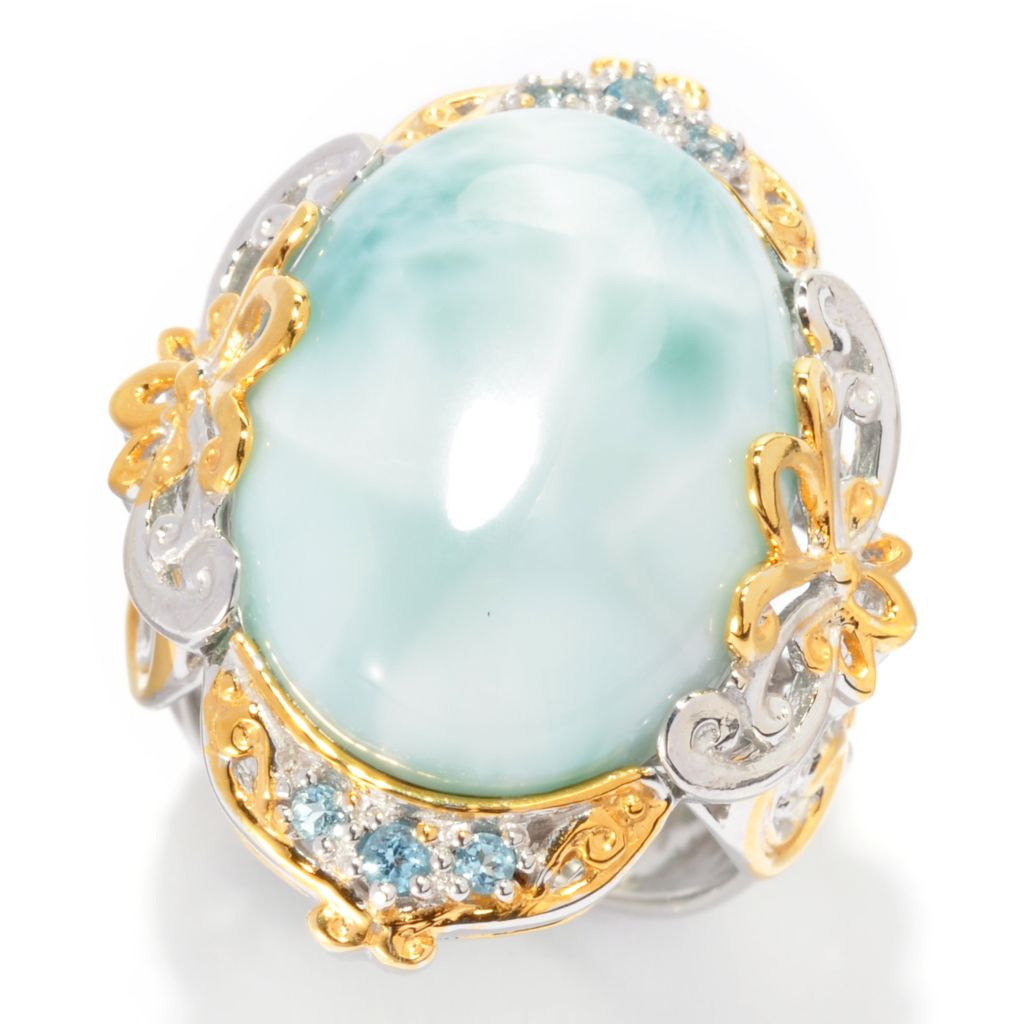 137-375 - Gems en Vogue 20 x 15mm Oval Larimar & Swiss Blue Topaz Ring