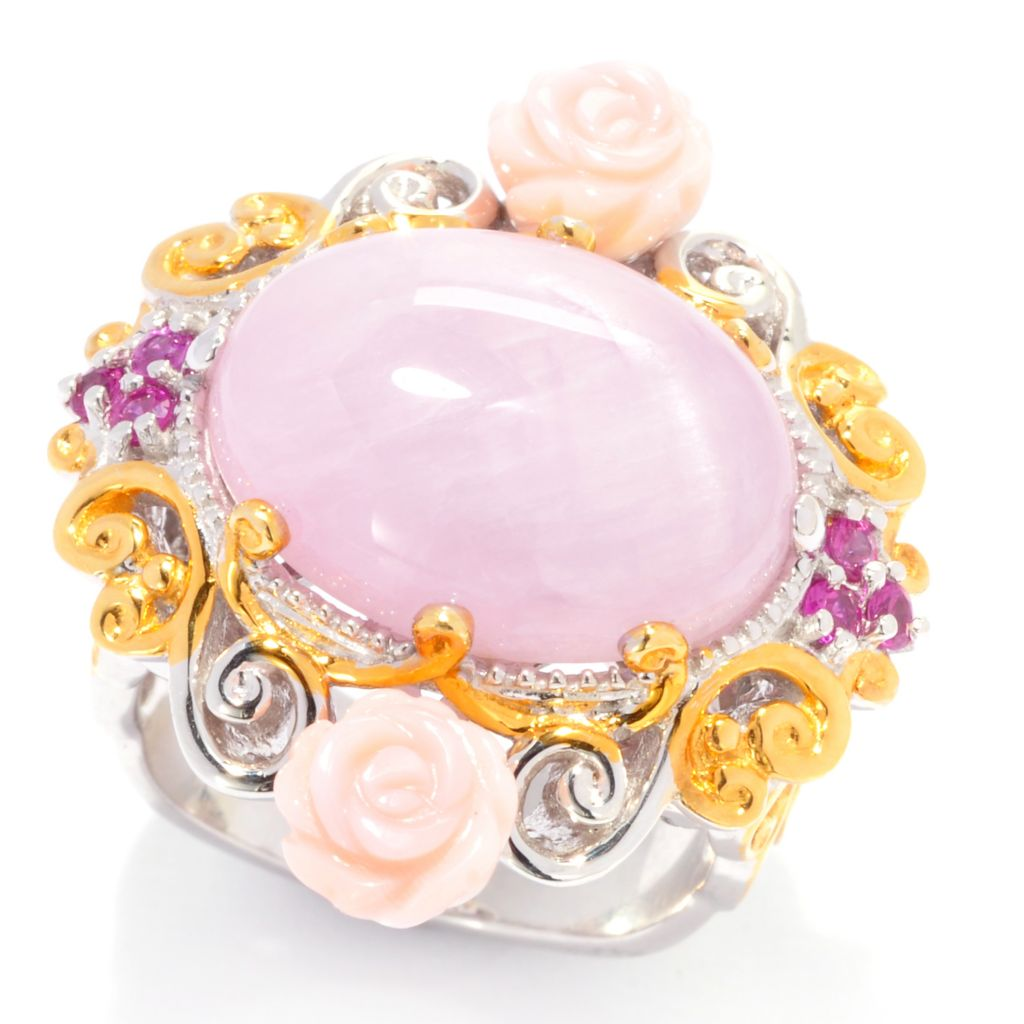 137-377 - Gems en Vogue II 16 x 12mm Kunzite, Pink Sapphire & Pink Conch Shell Flower Ring