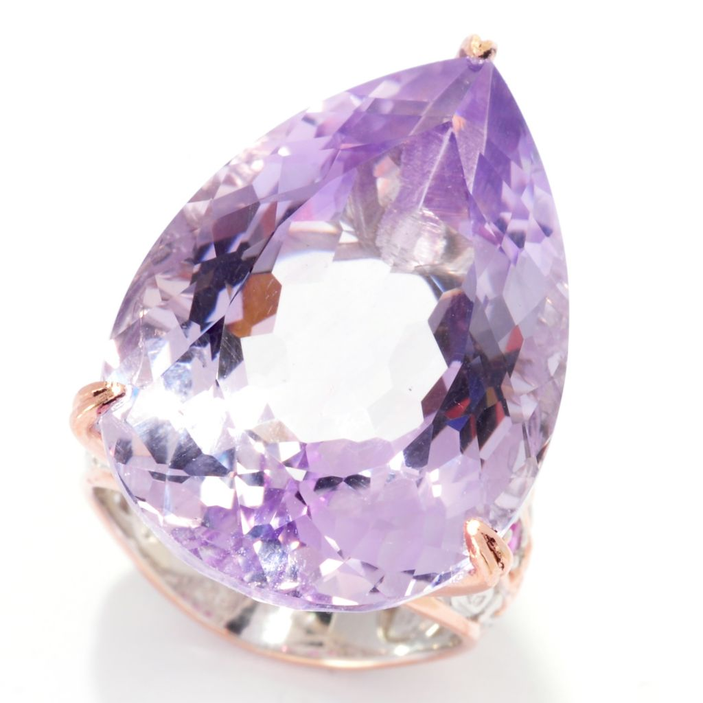 137-378 - Gems en Vogue 33.90ctw Pear Shaped Pink Amethyst & Pink Sapphire Ring