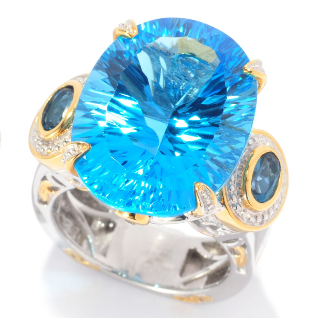137-379 - Gems en Vogue II 22.78ctw Swiss Blue Topaz, London Blue Topaz & White Sapphire Ring