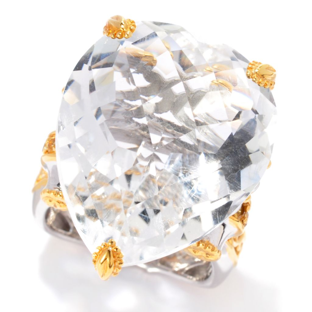 137-380 - Gems en Vogue 37.05ctw Heart Shaped White Quartz & Yellow Sapphire Ring