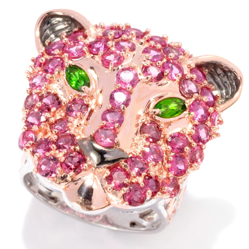 137-382 - Gems en Vogue II 4.14ctw Pink Tourmaline & Chrome Diopside Panther Ring