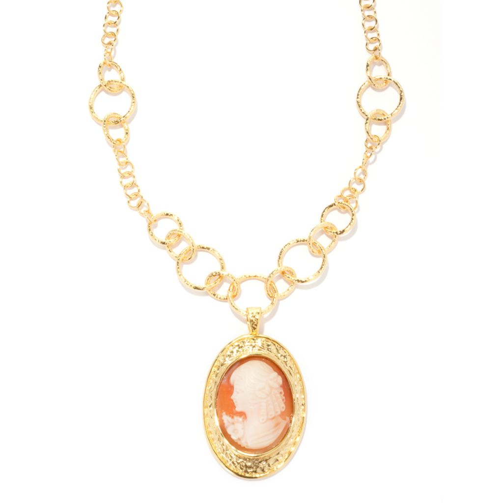 137-384 - Toscana Italiana 18K Gold Embraced™ Hand-Carved Cameo Enhancer w/ Rolo Link Necklace