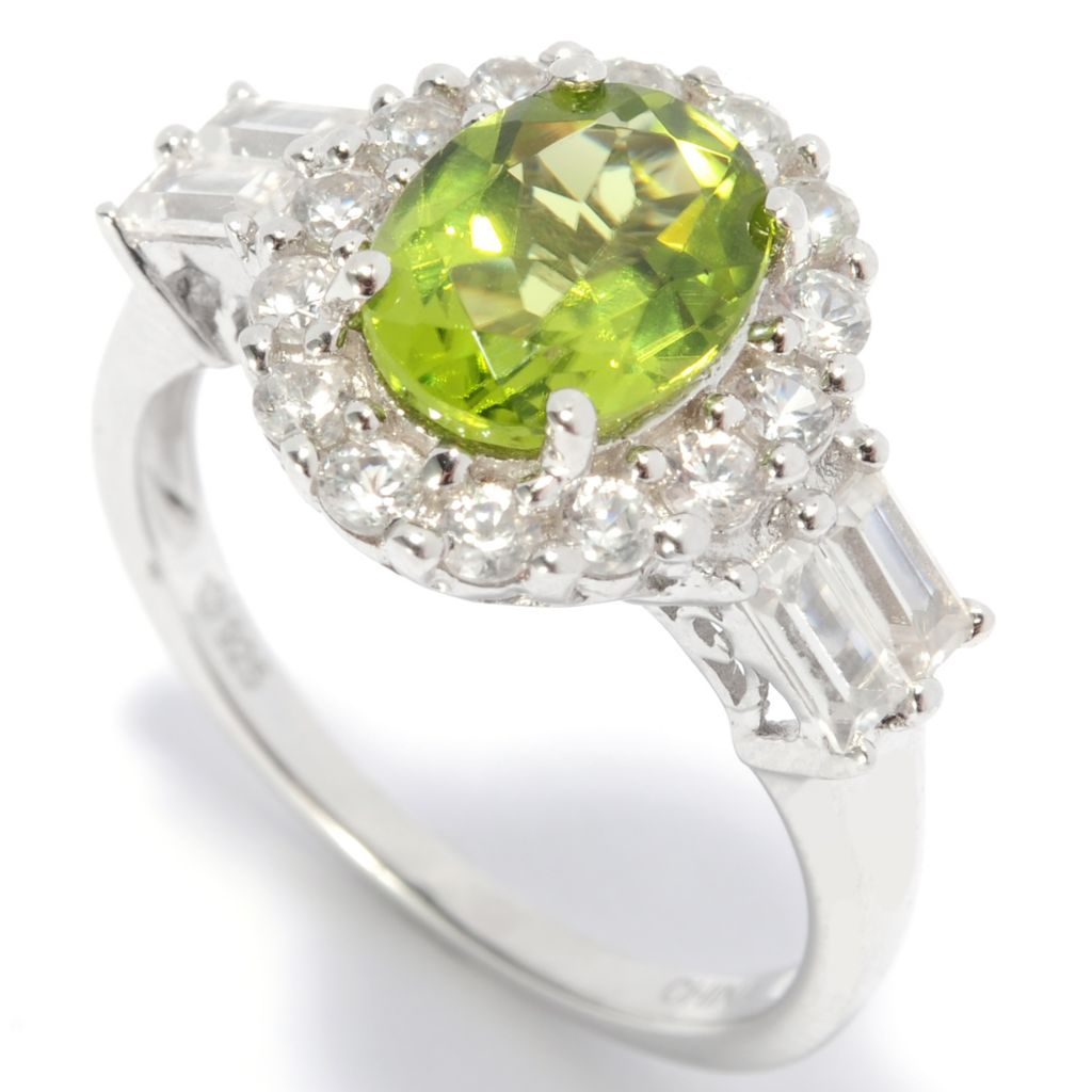 137-386 - Gem Insider Sterling Silver 3.60ctw Peridot & White Zircon Halo Ring