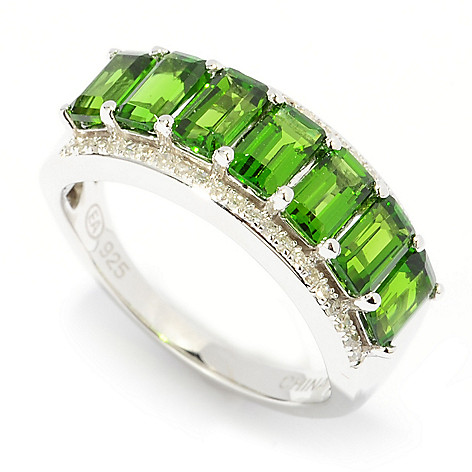 137-388 - Gem Insider Sterling Silver 1.90ctw Chrome Diopside & Diamond Band Ring