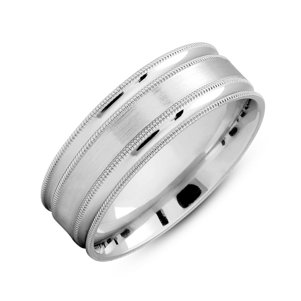137-395 - 14K Gold Men's 7mm Comfort Fit Satin Finished & Polished Milgrain Band Ring