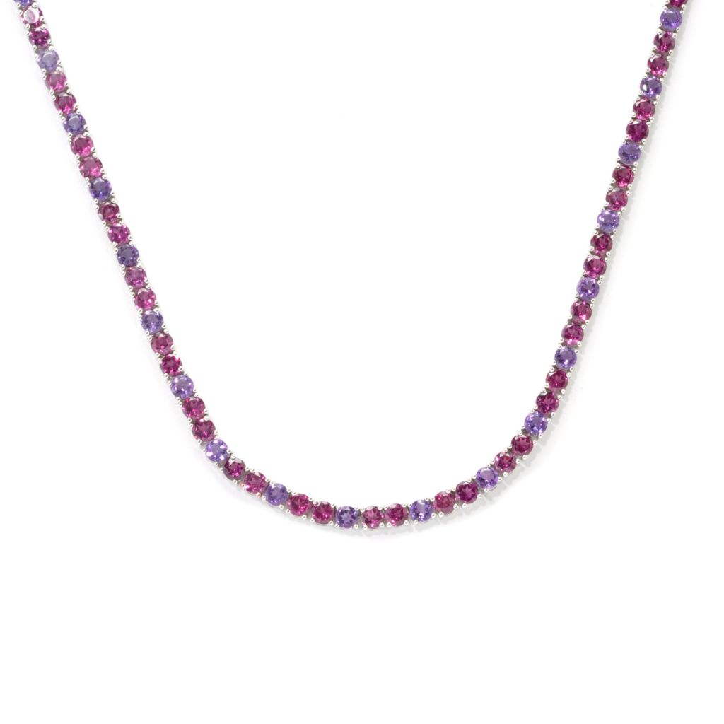137-398 - Gem Insider Sterling Silver Rhodolite & Amethyst Tennis Necklace