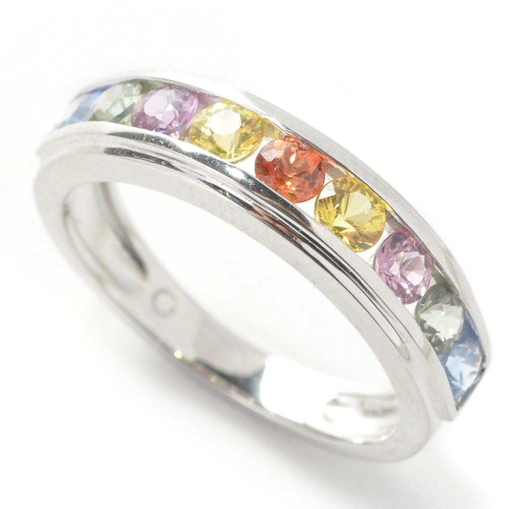 137-400 - Gem Insider Sterling Silver 1.12ctw Round Fancy Sapphire Band Ring