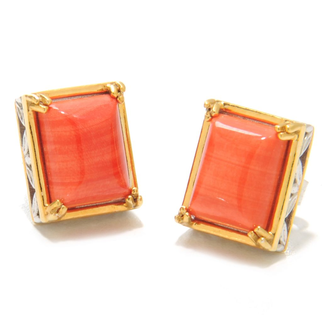 137-405 - Gems en Vogue Bamboo Coral Stud Earrings