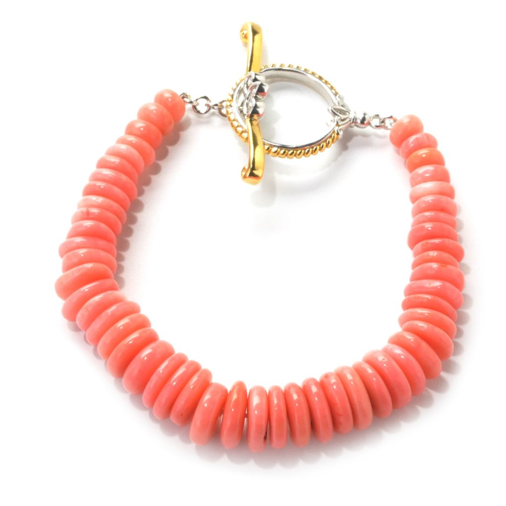 137-406 - Gems en Vogue Bamboo Coral Rondelle Bead Toggle Bracelet