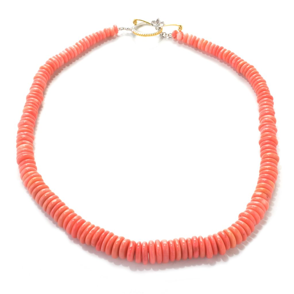 "137-407 - Gems en Vogue 20"" Bamboo Coral Rondelle Bead Graduated Toggle Necklace"