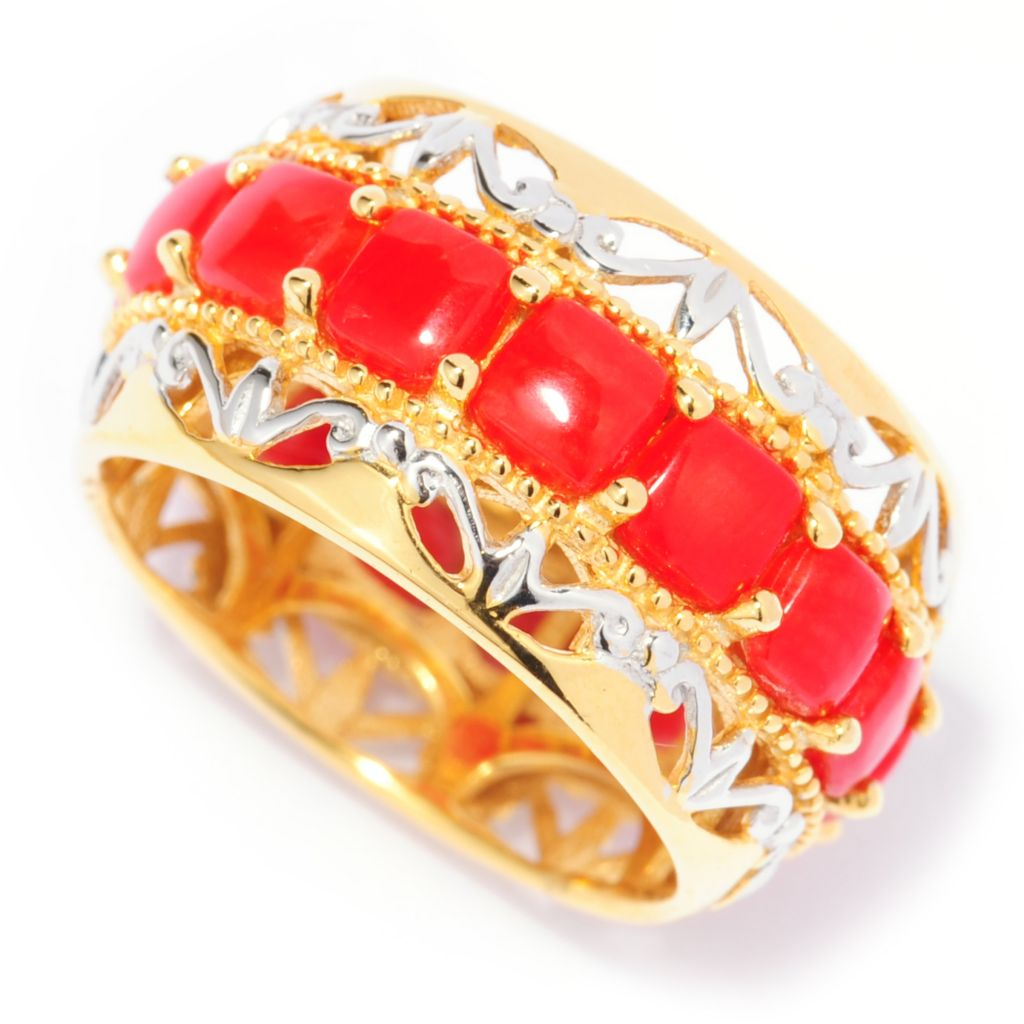 137-408 - Gems en Vogue Red Bamboo Coral Eternity Band Ring