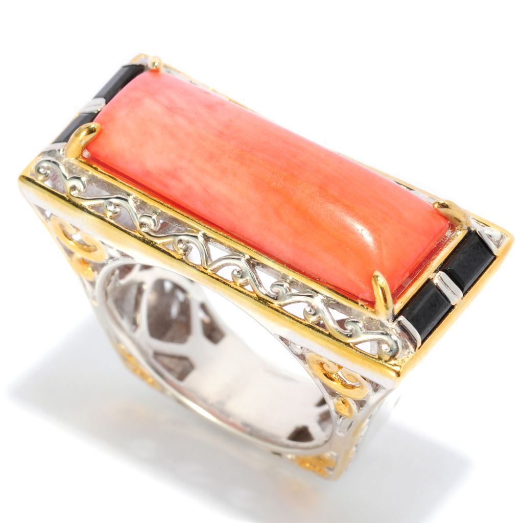 137-410 - Gems en Vogue 22 x 8mm Bamboo Coral & Black Spinel Elongated Ring