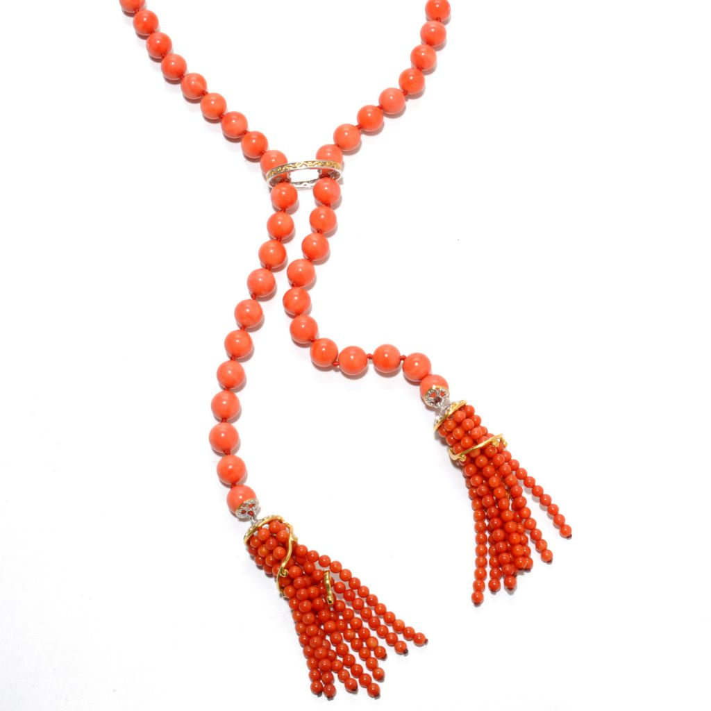 "137-412 - Gems en Vogue 24"" Round Bamboo Coral Bead Tassel Y-Drop Necklace"