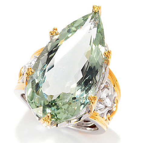 137-413 - Gems en Vogue 14.78ctw Pear Shaped Prasiolite & White Topaz Ring