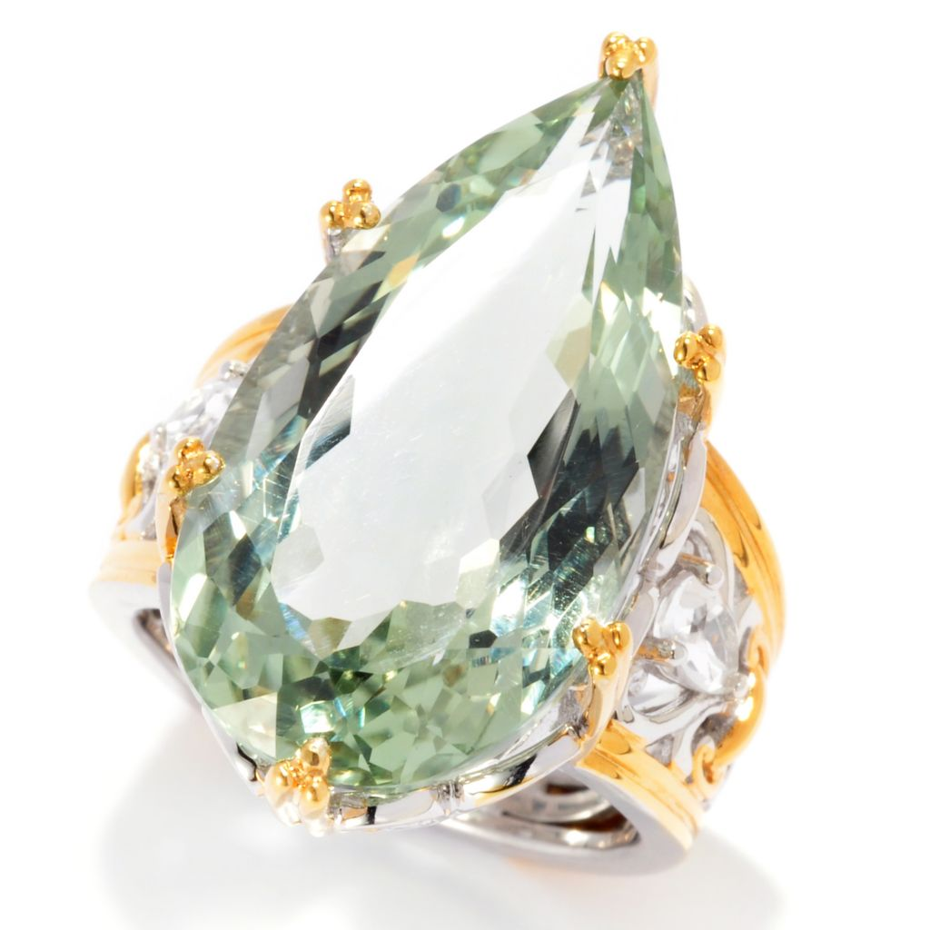 137-413 - Gems en Vogue II 14.78ctw Pear Shaped Prasiolite & White Topaz Ring