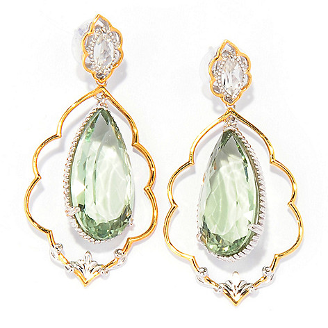 137-414 - Gems en Vogue 2'' 33.22ctw Prasiolite & White Topaz Teardrop Earrings