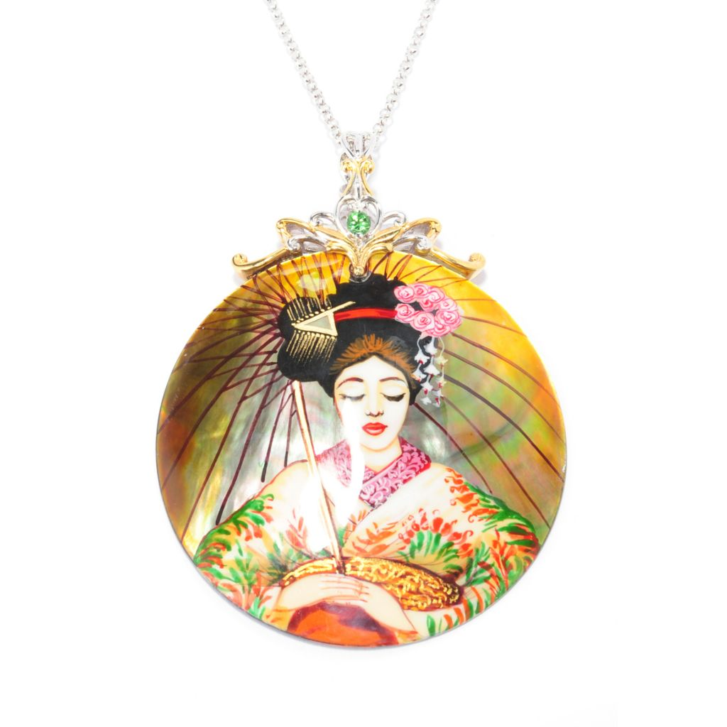 "137-415 - Gems en Vogue 50mm Hand-Painted Mother-of-Pearl Geisha Pendant w/ 18"" Chain"