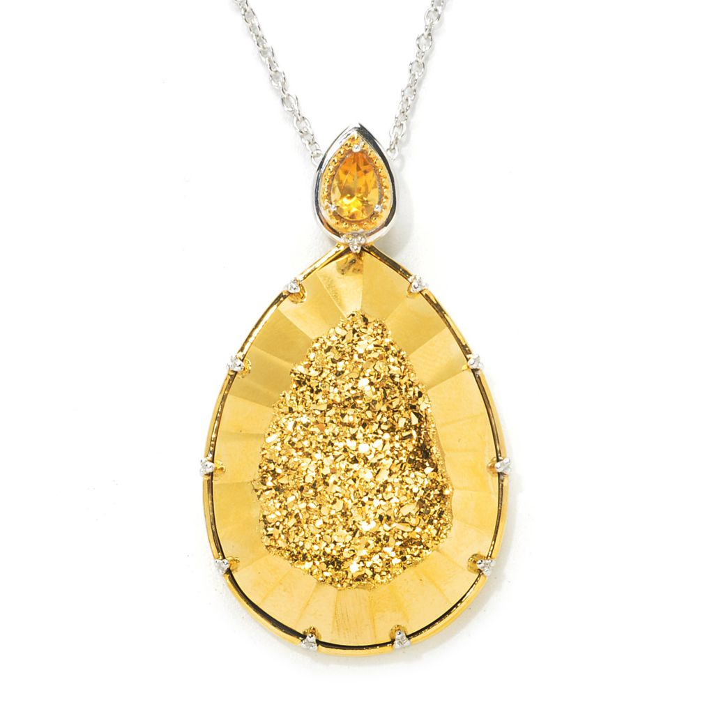 "137-416 - Gems en Vogue II 34 x 24mm Golden Drusy & Citrine Pendant w/ 18"" Chain"