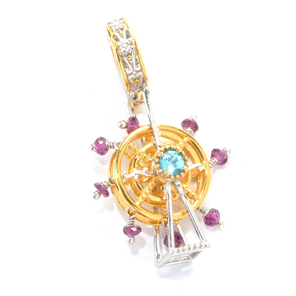 137-417 - Gems en Vogue 2.30ctw Swiss Blue Topaz & Rhodolite Ferris Wheel Charm