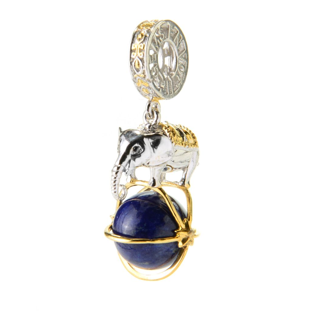 137-418 - Gems en Vogue 10mm Round Gemstone Bead Circus Elephant Drop Charm
