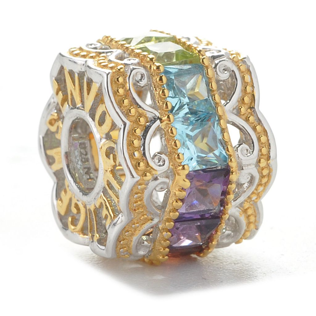 137-425 - Gems en Vogue II 1.54ctw Multi Gemstone Hexagon Slide-on Charm