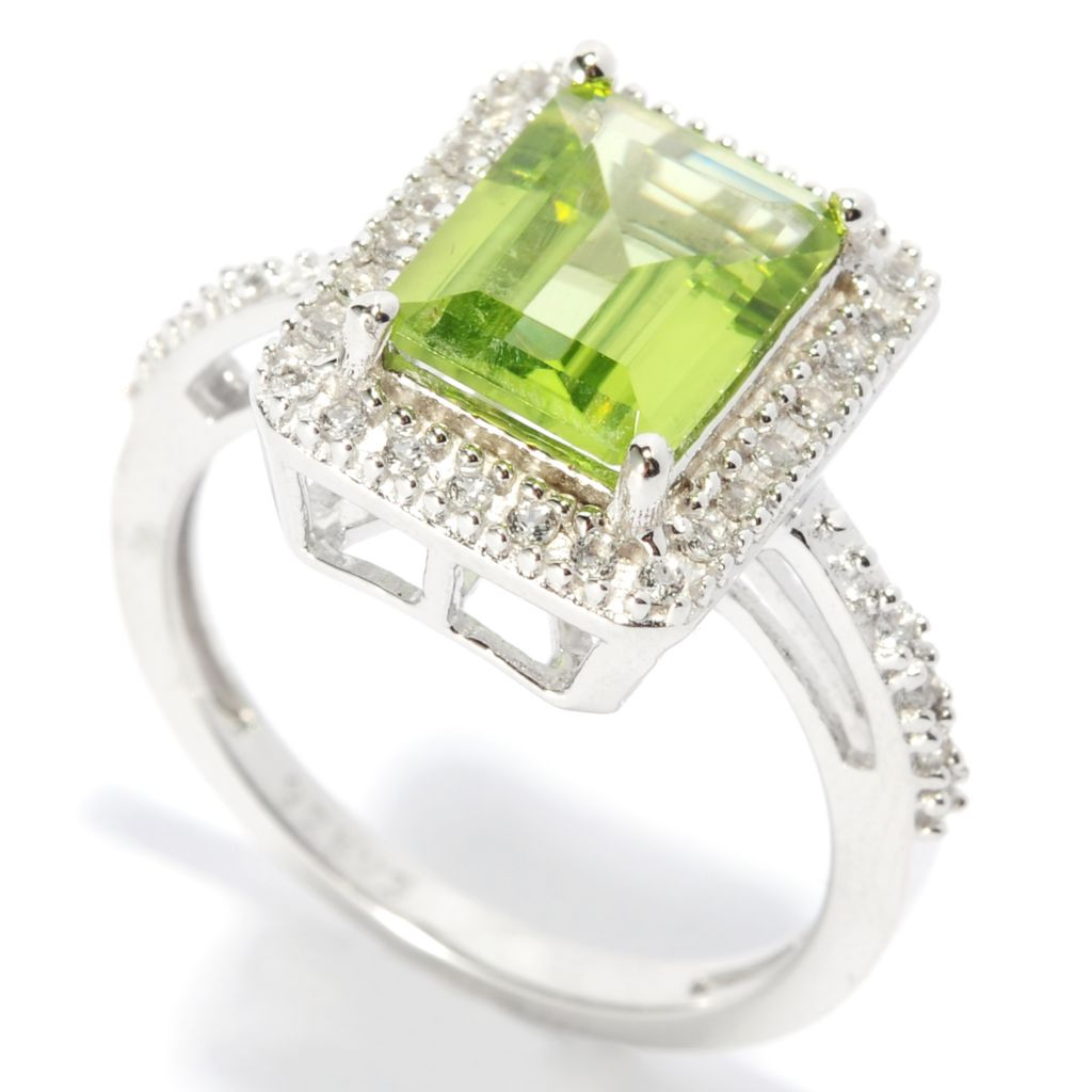 137-426 - Gem Insider Sterling Silver 2.24ctw Peridot & White Topaz Rectangle Ring