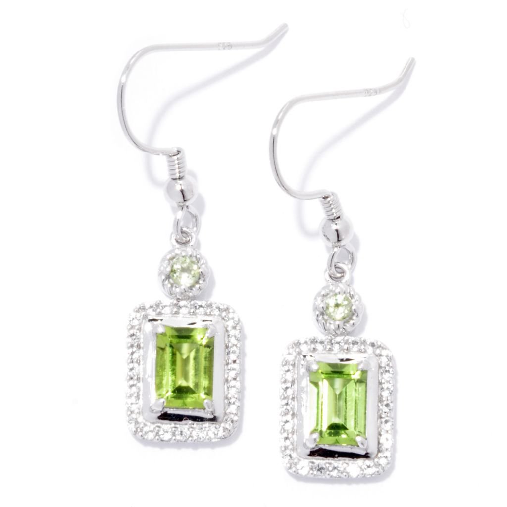 "137-427 - Gem Insider Sterling Silver 1.25"" 2.28ctw Peridot & White Topaz Earrings"