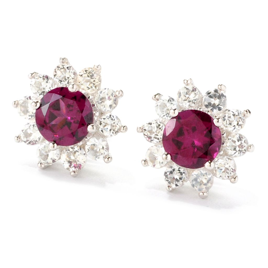 137-430 - Gem Insider Sterling Silver 1.60ctw Gemstone & White Topaz Stud Earrings